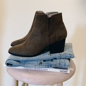 Olive Faux Suede Ankle Boots